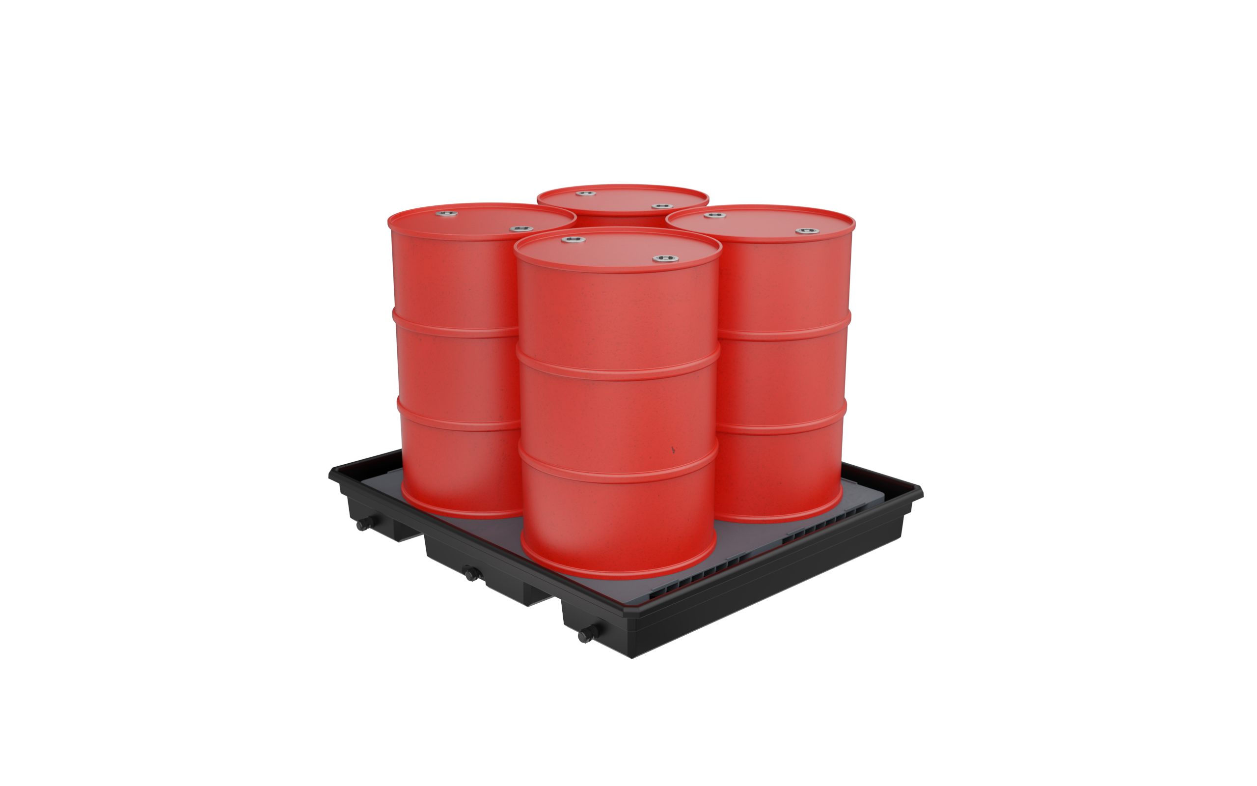 Spill Containment - 4  vertical perf no barrel מאצרה ל-4 חביות עומדות